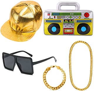 Aperil Hip Hop Costume Kit Mens 90.s 80.s Rapperfor Accessories Favors Birthday- Adult 80s Party Theme Decor