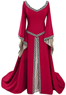 Dwevkeful Vestidos de Princesa de Manga Larga Acampanada de Color Sólido de Estilo Medieval para Mujer 50s Rockabilly Polka Dots Audrey Dress Retro Cocktail Dress Cosplay Victoriano Gotico Disfraces