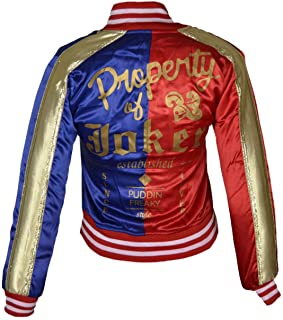 FWL Suicide Squad Harley Quinn Satin Jacket for Women (XXS-5XL) Red & Blue