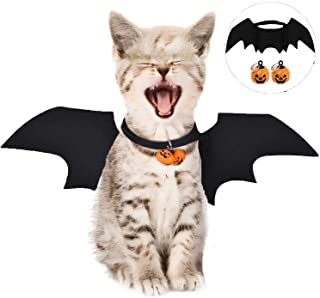 LIZHIGE Pet Costume Bat Wings- 1Pc Pet Halloween Bat Wings Disfraz- Gato Perro Cool Bat Wings Cosplay Accesorio para Halloween Holiday Theme Party- 2Pc Campana de Calabaza