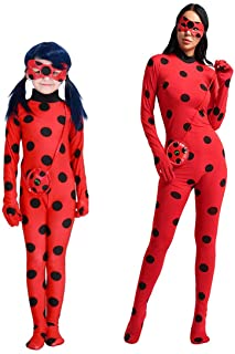 wetry - Miraculous Ladybug Chica Adulta Halloween Cosplay Disfraces Christmas Carnival Ropa 3PCS